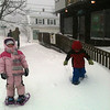 Cole (6), Skye(5), and Drew (3) Ciolino snowshoeing on Washington Saturday morning on their way to Mamie's Kitchen for breakfast.  <br /> <br /> Photographer's Name: Jennifer  Brooks<br /> Photographer's City and State: Gloucester, MA