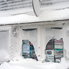 Photo courtesy of James Atkinson/Gloucester Daily Times. Snowbound Bearskin Neck, Rockport. Damage to one of the shops.
