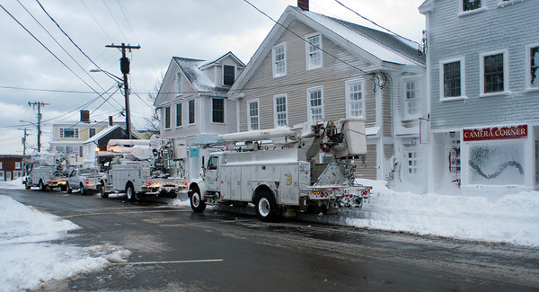 Photo courtesy of James Atkinson/Gloucester Daily Times. Utility crews were readying to bring power back to downtown Rockport.