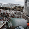 Photo courtesy of James Atkinson/Gloucester Daily Times. Snowbound Bearskin Neck, Rockport. Propane tanks at various homes and businesses were ripped away from the structures and damaged.