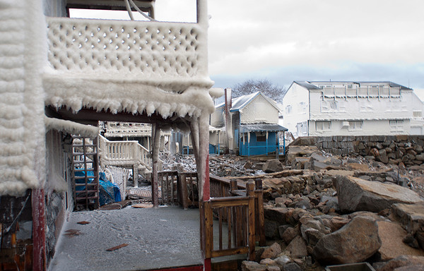Photo courtesy of James Atkinson/Gloucester Daily Times. Snowbound Bearskin Neck, Rockport. Damage can be seen throughout the area.