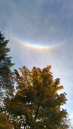 """<b>Submitted By:</b> William (Bill) Steeves <b>From:</b> Traverse City <b>Description:</b> Attached is a photo of a """"Smiley Rainbow."""" It is upside down, something I have never seen before. I took this photo at the southern end of Torch Lake on 16 October 2012 at around 1630/4:30 PM. Enjoy. Bill"""