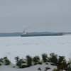 Freighter going through the ice on Lake Huron. Taken in Mackinaw City <br /> 1/18/2009<br /> Photo taken by J. Wilkinson