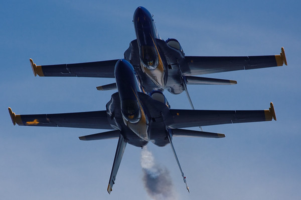 As the great Mickey Redmond often says, 'It's no place for a nervous <br /> person!'. Blue Angels 1 and 4 pass overhead while inverted over West Grand <br /> Traverse Bay on July 5th, 2008.<br /> <br /> Steve Kempf<br /> Sutton's Bay