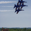 The Blue Angels' diamond formation cruises past show center at the National <br /> Cherry Festival airshow on July 5, 2008.<br /> <br /> Steve Kempf<br /> Suttons Bay