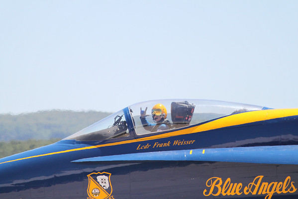<b>Submitted By:</b> Roberta Benedict <b>From:</b> Grawn <b>Description:</b> Blue Angel waving bye on his way to take-off during the cherry festival 2010.