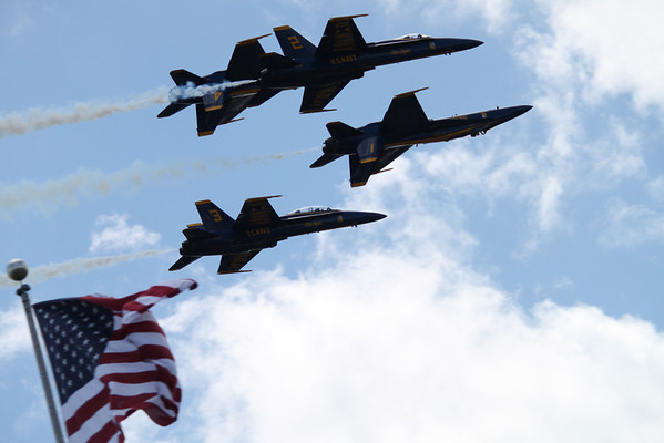 <b>Submitted By:</b> Roberta Benedict <b>From:</b> Grawn <b>Description:</b> Blue Angels 2010!  Flying over an American Flag on the 4th of July.  I thought this was awesome and very patriotic.  The picture was taken at APACHE TROUT GRILL during the Blue Angel Pig Roast 2010.