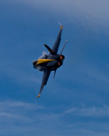 <b>Submitted By:</b> Peggy Zinn <b>From:</b> Traverse City  <b>Description:</b> Blue Angel with Vapor trail and Afterburner