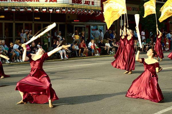 "<span style=""display:none"">Email: tiny.leviathan@gmail.com</span> <b>Submitted By:</b> Levi Gates <b>From:</b> Traverse City <b>Description:</b> A flag troupe performs in front of The State Theatre during the parade on July 7th, downtown Traverse City."