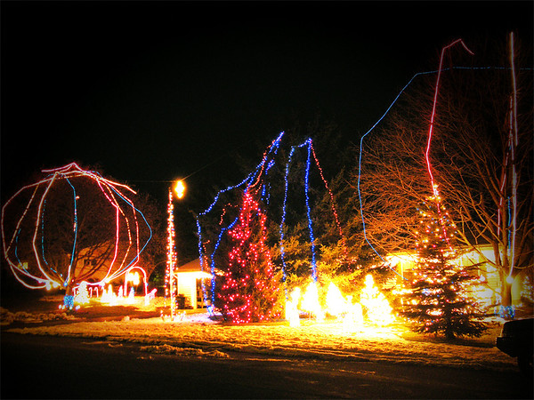 A friend took this last week (Dec 2008) of the lights in my yard. It  <br /> looks much better in person. We keep them going till 10:00 p.m.  <br /> through January 1st.<br /> <br /> Deborah Kohn<br /> Traverse City, Mi.