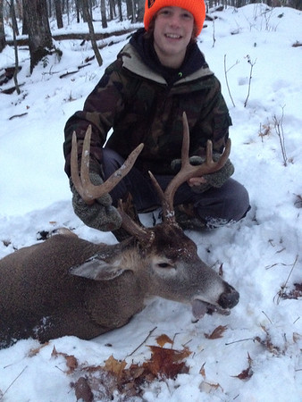 Gavin bags his biggest buck yet<br /> <br /> Photographer's Name: Gavin Mortensen<br /> Photographer's City and State: Central Lake, MI