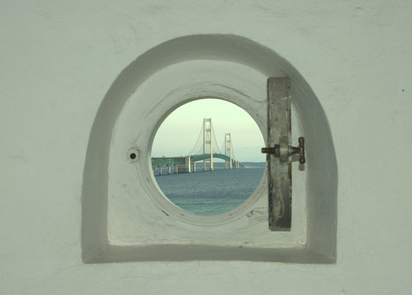 <b>Submitted By:</b> Jeff Katke <b>From:</b> Wolverine <b>Description:</b> Photo of the Mackinaw Bridge shot from the lighthouse stairs to the light.