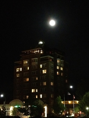 <b>Submitted By:</b> Lawrence Probes <b>From:</b> Traverse City <b>Description:</b> Full moon rising over Park Place Hotel in Traverse City Friday night May 4, 2012. Taken with an iPhone 4S.