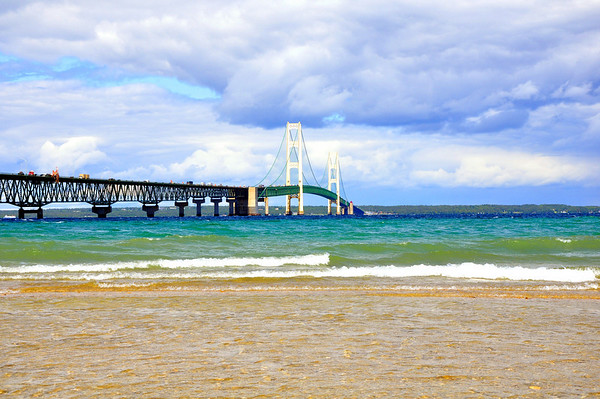 <b>Submitted By:</b> Steve Nowakowski <b>From:</b> Lambertville, MI. <b>Description:</b> Mackinac Bridge on a calm summer day in 2010 taken from the shoreline in Machinaw City, MI.