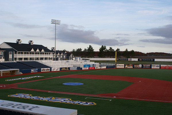 """The Traverse City Beach Bums' Wuerfel Park is quieting down after a busy <br /> summer. The ballpark is photographed here on the morning of Friday, Oct. 17 <br /> at 8:45 a.m., just as the fog and frost is lifting and burning off.<br /> <br /> Nate Jorgensen<br /> Media Relations Director<br /> Traverse City Beach Bums<br /> (231) 943-0100<br /> nate@tcbeachbums.com<br />  <a href=""""http://www.tcbeachbums.com"""">http://www.tcbeachbums.com</a>"""