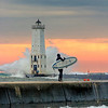 Copyright © 2008 Shane M. Wyatt, Traverse City. All rights reserved.<br /> <br /> This one was shot Oct 19 at Frankfort. Pete is heading out to catch another <br /> huge wave!