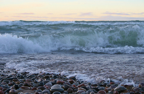 <b>Submitted By:</b> Sharon Lea Mitchell <b>From:</b> Kinglsey Michigan <b>Description:</b> Beach at Grand Marais Michigan after the Gale winds. See the rare Agates stirred to the surface by the beautiful wave action?