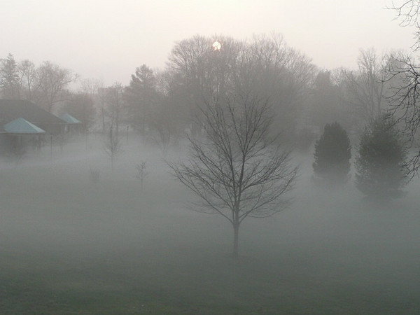 <b>Submitted By:</b> Lawrence Loesel <b>From:</b> Traverse City <b>Description:</b> Sunrise through fog as seen on mall of Grand Traverse Pavillions