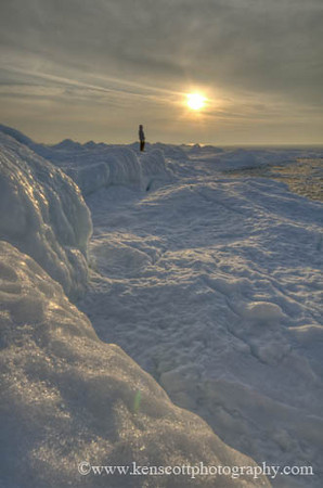 <b>Submitted By:</b> Ken Scott <b>From:</b> Suttons Bay <b>Description:</b> Hiking along the iced Lake Michigan shoreline, north of Leland on 2-16-11 near sunset.