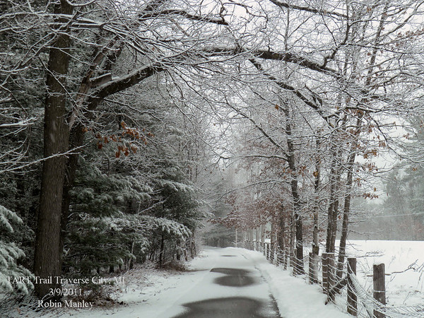 """<b>Submitted By:</b> Robin Manley <b>From:</b> Traverse City <b>Description:</b> """"Peace on the TART"""" Taken on the TART Trail between the State Park and Three Mile on 3/9/11"""