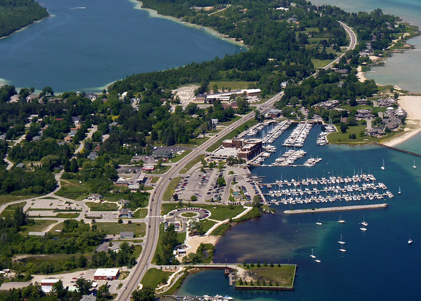 <b>Submitted By:</b> Virginia Postma <b>From:</b> Traverse City, MIchigan <b>Description:</b> Aerial view of the marina and the former Scott's Landing up M-22 leaving Traverse City, MI. We were flying in a Cessna airplane piloted a friend from Canada visiting the Traverse City area. The date the picture was photographed was June 23, 2011.