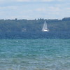 Kristine Hall<br /> Traverse City<br /> Lone sailboat on Grand Traverse Bay.<br /> August 2007