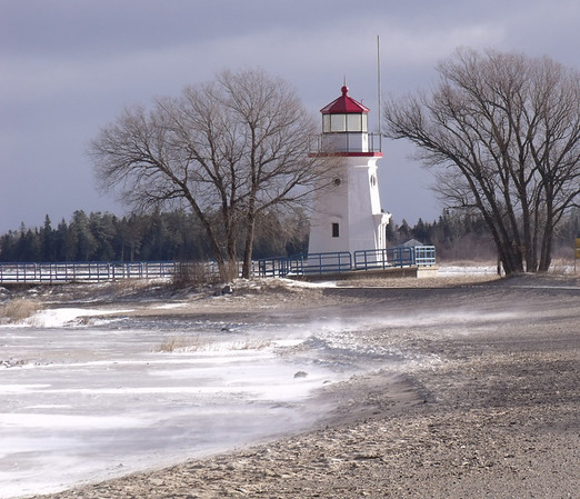 <b>Submitted By:</b> JoAnn Wilkinson <b>From:</b> Onaway <b>Description:</b> Cheboygan Crib Light on Lake Huron. Cold freezing Wind and blowing Snow. December 7, 2010.