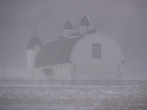 <b>Submitted By:</b> Charlie Stairs <b>From:</b> Empire, Mi. <b>Description:</b> D. H. Day barn in blizzard