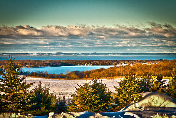 <b>Submitted By:</b> Jim Schoensee <b>From:</b> Central Lake, MI  <b>Description:</b> View of Torch Lake and Grand Traverse Bay from Kiessel Road, 3 miles west of Central Lake. Photo edited in Photoshop CS5 HDR.