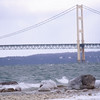 <b>Submitted By:</b> JoAnn Wilkinson <b>From:</b> Onaway <b>Description:</b> Mackinaw Bridge taken December 7, 2010. Cold winter wind along the shore of Lake Michigan, Ice forming on the rocks.
