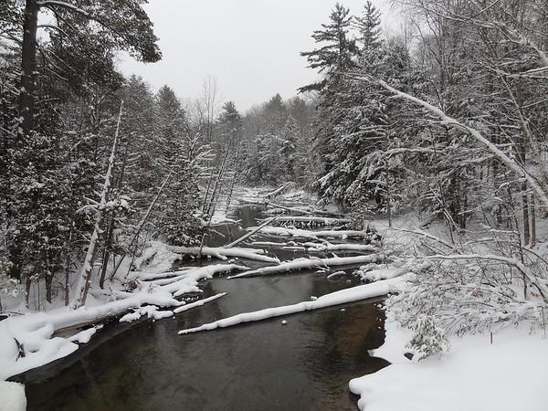 a snowy platte river flowing threw interlochen <br /> <br /> Photographer's Name: james fantozzi<br /> Photographer's City and State: interlochen, MI