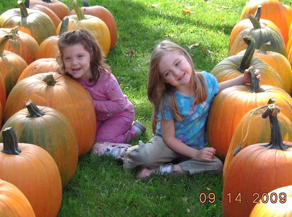 <b>Submitted By:</b> Judy Hammond <b>From:</b> Traverse City <b>Description:</b> Picking out pumpkins at the Edgecomb Dairy Farm Market.  Cousins Charlotte 2, & Kendall 4, sit among the choices.