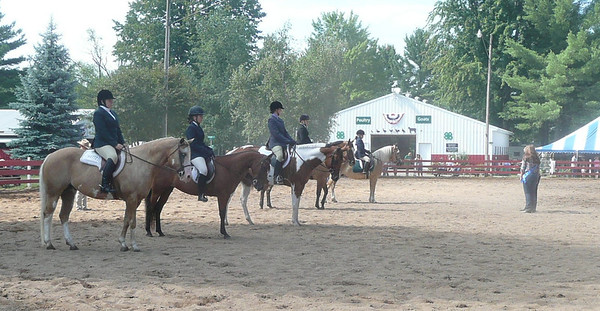 <b>Submitted By:</b> lawrence Loesel <b>From:</b> Traverse City, MI <b>Description:</b> Horses and riders in a row at Northwestern Michigan fair