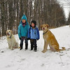 <b>Submitted By:</b> Cathy McKinley <b>From:</b> Suttons Bay <b>Description:</b> Christmas Eve Walk on the Leelanau Trail, Bingham Township. Gracie, Georgia Stoy, her brother, Callum, and Chester