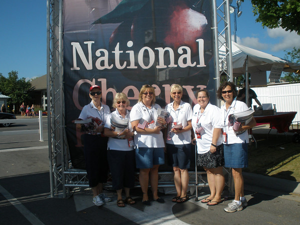 The Blue Star Mothers of America were on hand at the National Cherry Festival on Monday, July 9, for the veterans recognition day. They handed out information about the Blue Star Mothers of America as well as programs and schedules for the National Cherry Festival at the entrance to the open space.  <br /> Blue Star Mothers of America is a group of women who have children that have served or are currently serving in the military. From left are Mary Amy Vivian; President Susan Raven; 2nd Vice President Vicki Groll; 1st VP Dawn Willman; U.S. Army 1st Lieutenant Rebecca Hunt, retired; and Fin. Sec. Phyllis Donberg.