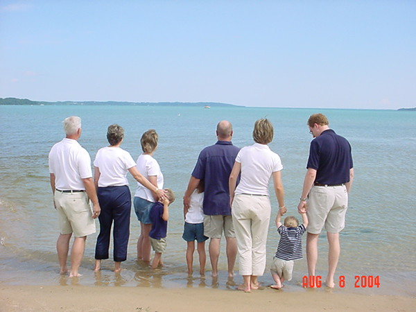 This picture was taken at the TC State Park Beach.  Pictured is the Mike & <br /> JoAnne Carter Family.