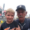 <b>Submitted By:</b> Trevor & Cheryl Dunson <b>From:</b> Traverse City <b>Description:</b> This is our son, Isaac Dunson at his first Tiger game on 8.20.2011 ~ lucky enough to get his picture taken with Jim Leyland. Isaac will be a first grade student at Grand Traverse Academy.