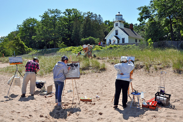 <b>Submitted By:</b> Deb Perry <b>From:</b> Traverse City <b>Description:</b> Plein air painters on the beach at Old Mission Lighthouse.