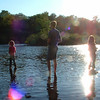 Abby, Tim, and Megan Puckett fishing in the Tacquamenon River in the UP, <br /> taken by Julie Puckett in August 2008.