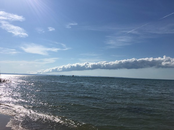 The roll cloud spotted from Old Mission Peninsula. Photo by Amy Dombrowski.