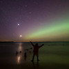 <b>Submitted By:</b> Ken Scott <b>From:</b> Suttons Bay <b>Description:</b> Selfie ... under the aurora  ... a lot going on this night ... This is from the most recent aurora display on April 23/24 and shows the crescent moon setting, venus following, sunset, twilight ... capped off with the beginnings of a northern lights show! nice eve : ] btw, that's the moon reflected in a wave pool on the beach! a short video from the night is here: http://www.youtube.com/watch?v=Zyj38_7gLsY view larger on black here: http://www.flickr.com/photos/kenscottphotography/7110221829/lightbox/ photo date/id to order a print: 20120423_4929Bb