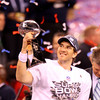 2-5-12     Kokomo Tribune | Tim Bath<br /> Super Bowl XLVI  - 4th Quarter - NY Giants vs. New England Patriots<br /> Giants Eli Manning after winning the Super Bowl and MVP with a score of score 21-17. He holds the Vince Lombardi trophy.