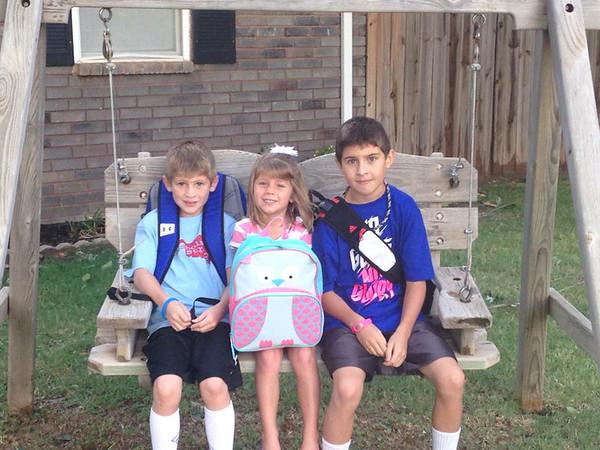 Ashton 3rd, Zoe Pre-K & Ayden 5th grade 1st day of school! Go Longhorns! <br /> <br /> Photographer's Name: Amber Warden<br /> Photographer's City and State: Enid, OK
