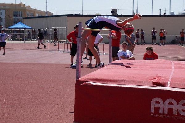 Macy Adams high jump 1st place Ponca city meet 4/7/15<br /> <br /> Photographer's Name: Carol Adams<br /> Photographer's City and State: Enid, OK