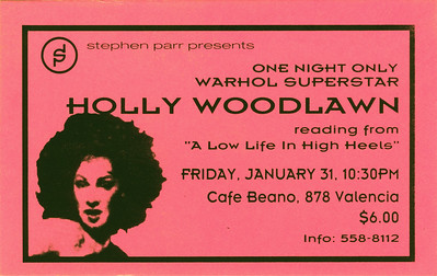 Stephen Parr Presents Holly Woodlawn Reading, San Francisco, 1992 - Ticket