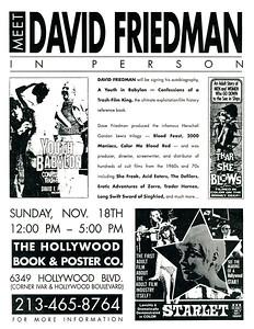 Eric Caidin Presents Meet David Friedman, 1990 - Flyer