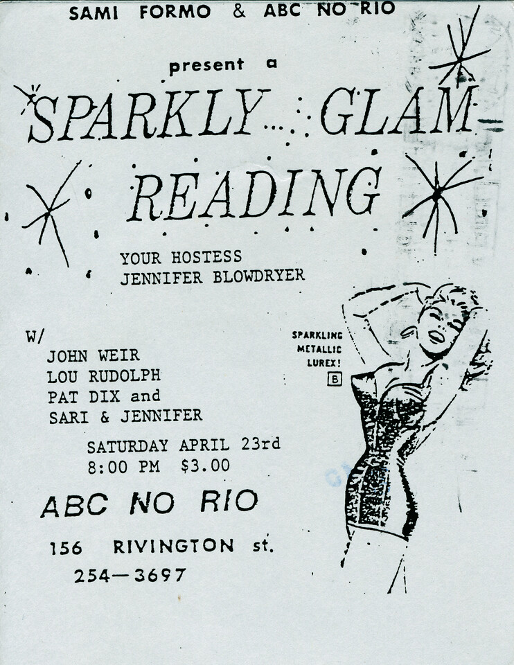 Sami Formo Presents Sparkly Glam Reading at ABC No Rio, NYC, 1988 - Invite Side 1