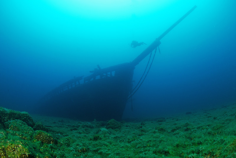An image of the iconic bow of Arabia and a diver... previously featured in Diver Magazine®