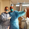 LGH ICU Dr. Arthur Laurentano, chief medical officer and head and neck surgeon,  and Dr. Wassim Mazraany, general surgeon, both of Andover