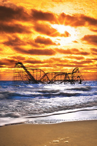 Rollercoaster in the water after Hurricane Sandy, Seaside Heights, NJ